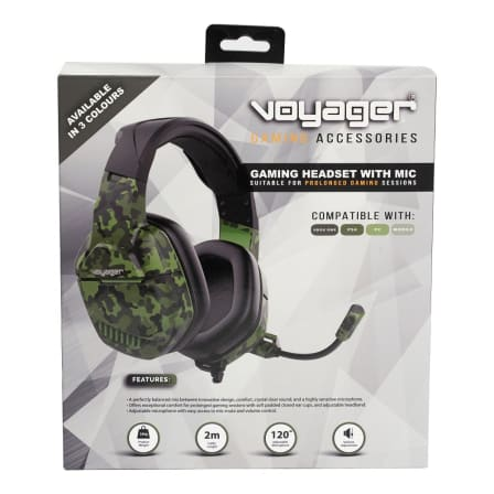 voyager gaming headphones with mic green